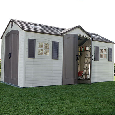 a plastic garden workshop shed with 2 sets of double doors, 2 windows and skylights
