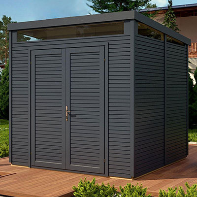 An anthracite-grey, wooden security shed with a pent roof