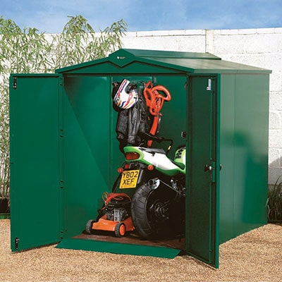 A green, metal security shed with its double doors open to reveal a motorbike and lawnmower