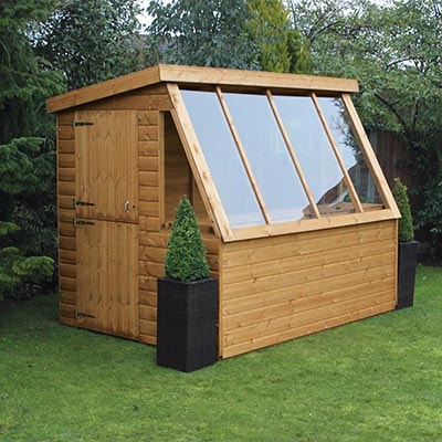 a potting shed with a 6' gable, pent roof and fully-glazed side