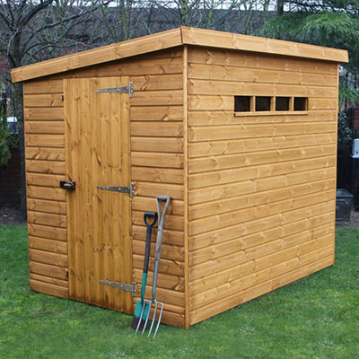 A wooden security shed with 12mm tongue and groove cladding
