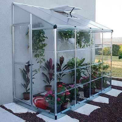 8x4 Palram silver lean to greenhouse with aluminium frame
