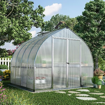 8x8 Palram Bella Greenhouse with frost polycarbonate and curved roof