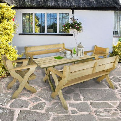 a wooden garden table, 2 matching benches and 2 matching chairs
