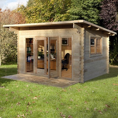 A log cabin with a pent roof and 44mm cladding, designed as a home office