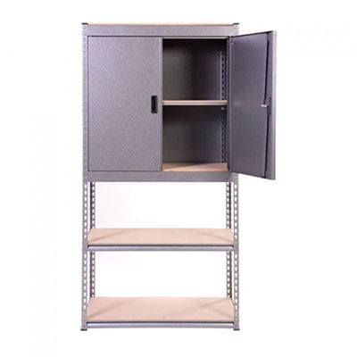 A storage unit consisting of a cupboard on top of shelves