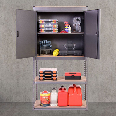 a fully-stocked shed cupboard and shelving unit