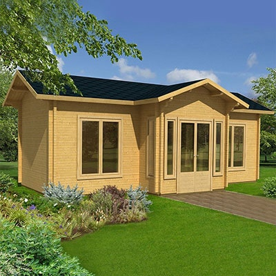A 7.8m x 4.8m log cabin with a roof overhang above the double doors and 70mm cladding