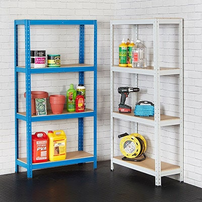 a blue and a white shed shelving unit
