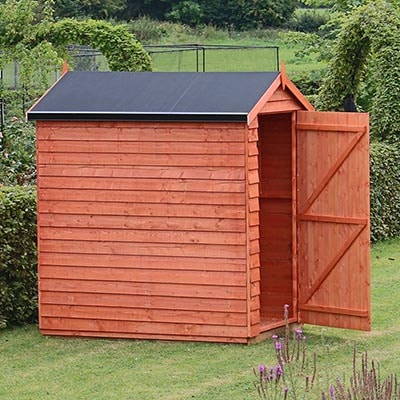 a dip-treated wooden shed with a black EPDM roof cover