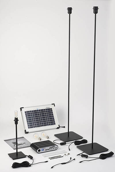 A technical image of solar lighting system including floor lamps and table lamps