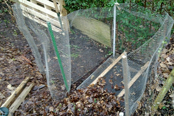 wire pen for collecting leaves to make leaf mould