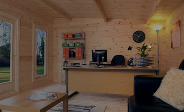 Home office image in a log cabin